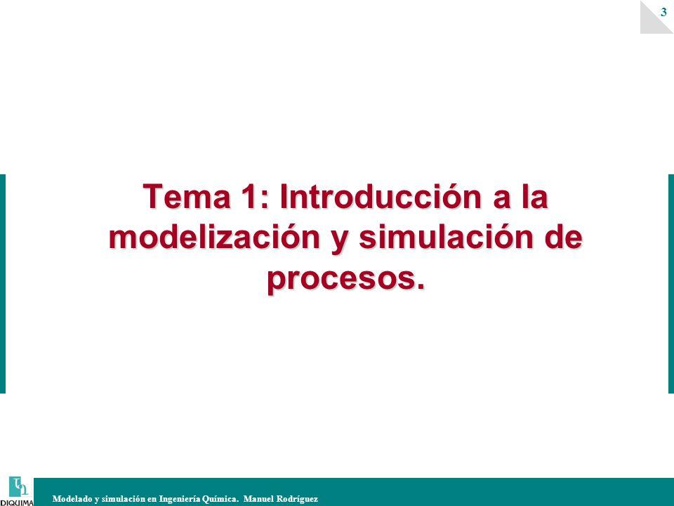 Modelado y simulación en Ingeniería Química. Manuel Rodríguez 3 Tema 1: Introducción a la modelización y simulación de procesos.