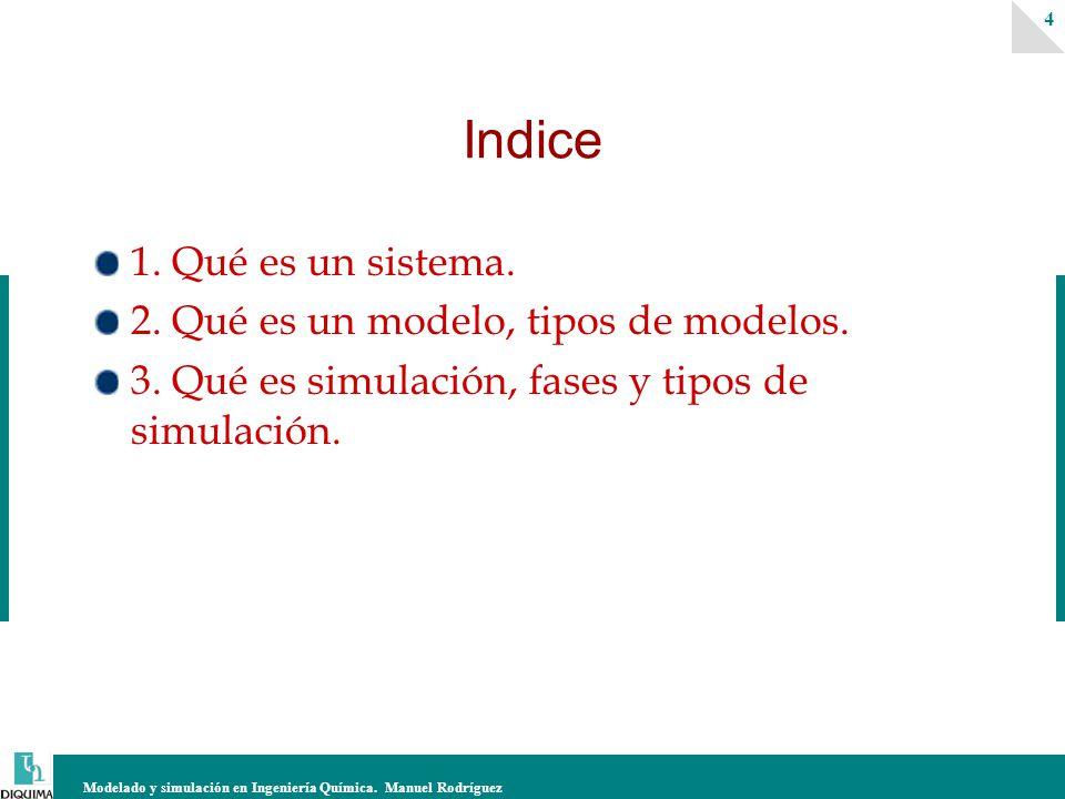 Modelado y simulación en Ingeniería Química. Manuel Rodríguez 4 Indice 1. Qué es un sistema. 2. Qué es un modelo, tipos de modelos. 3. Qué es simulaci