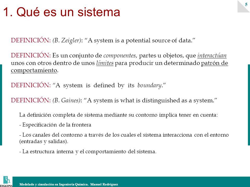 Modelado y simulación en Ingeniería Química. Manuel Rodríguez 5 DEFINICIÓN: (B. Zeigler) : A system is a potential source of data. DEFINICIÓN: Es un c