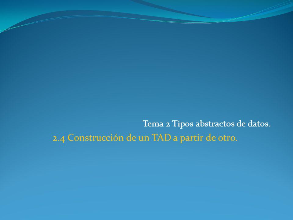 Tema 2 Tipos abstractos de datos. 2.4 Construcción de un TAD a partir de otro.