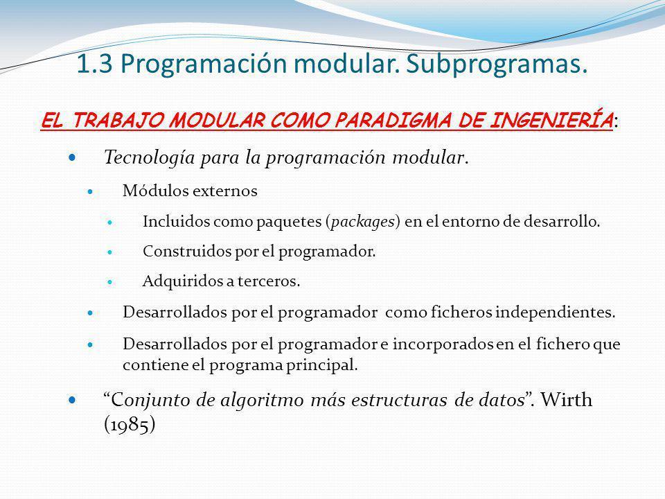 EL TRABAJO MODULAR COMO PARADIGMA DE INGENIERÍA : Tecnología para la programación modular. Módulos externos Incluidos como paquetes (packages) en el e