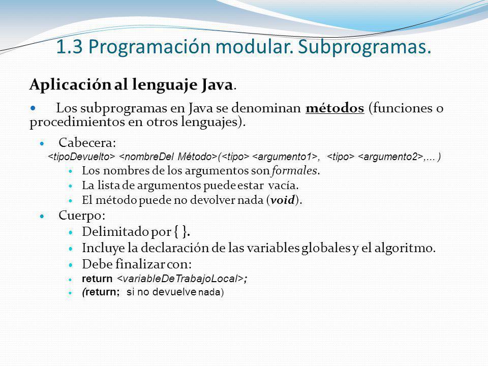 1.3 Programación modular. Subprogramas. Aplicación al lenguaje Java. Los subprogramas en Java se denominan métodos (funciones o procedimientos en otro