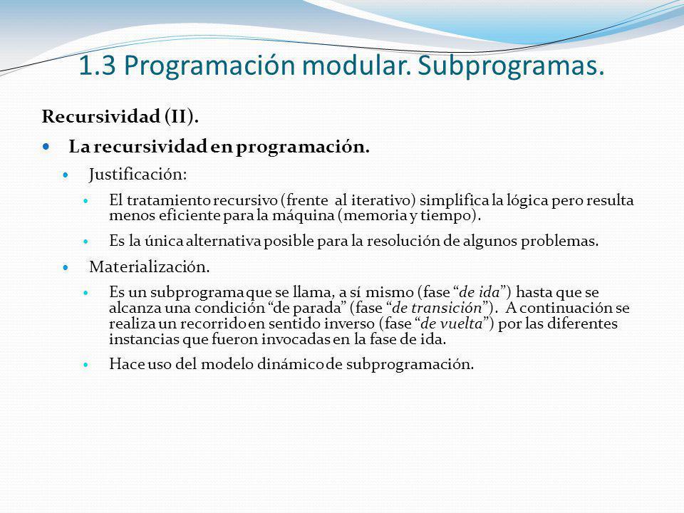 1.3 Programación modular. Subprogramas. Recursividad (II). La recursividad en programación. Justificación: El tratamiento recursivo (frente al iterati