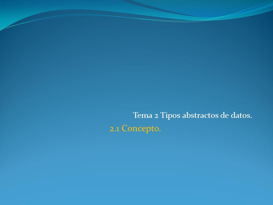 Tema 2 Tipos abstractos de datos. 2.1 Concepto.