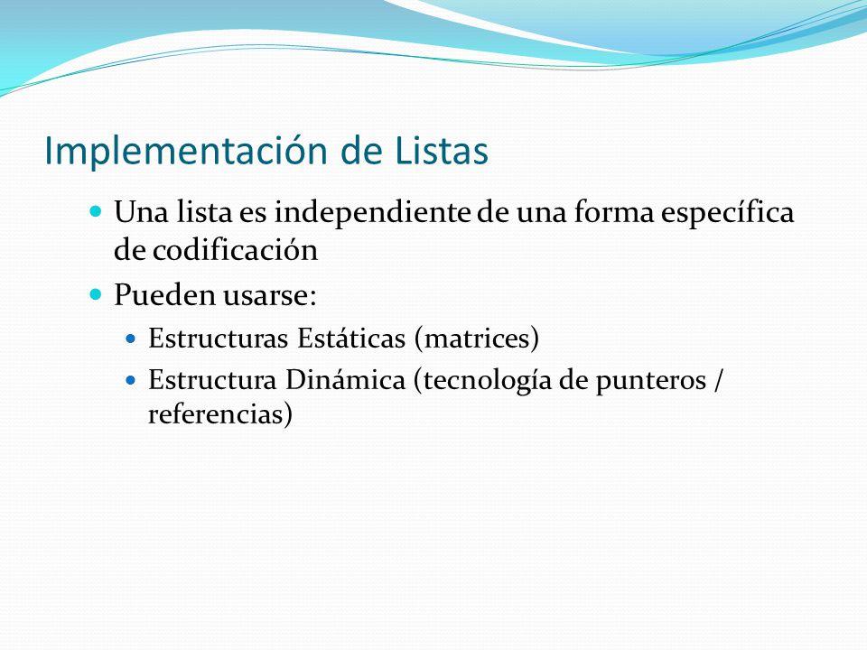 Implementación de Listas Una lista es independiente de una forma específica de codificación Pueden usarse: Estructuras Estáticas (matrices) Estructura