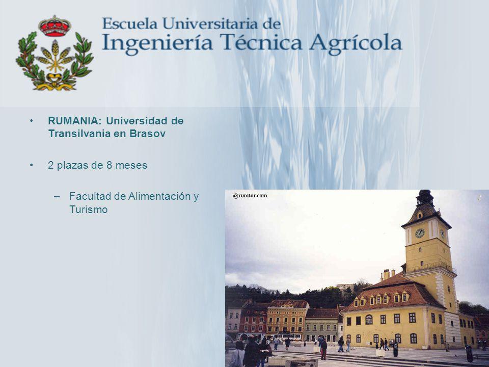 RUMANIA: Universidad de Transilvania en Brasov 2 plazas de 8 meses –Facultad de Alimentación y Turismo