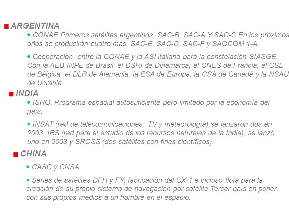 ARGENTINA CONAE.Primeros satélites argentinos: SAC-B, SAC-A Y SAC-C.En los próximos años se producirán cuatro más, SAC-E, SAC-D, SAC-F y SAOCOM 1-A.