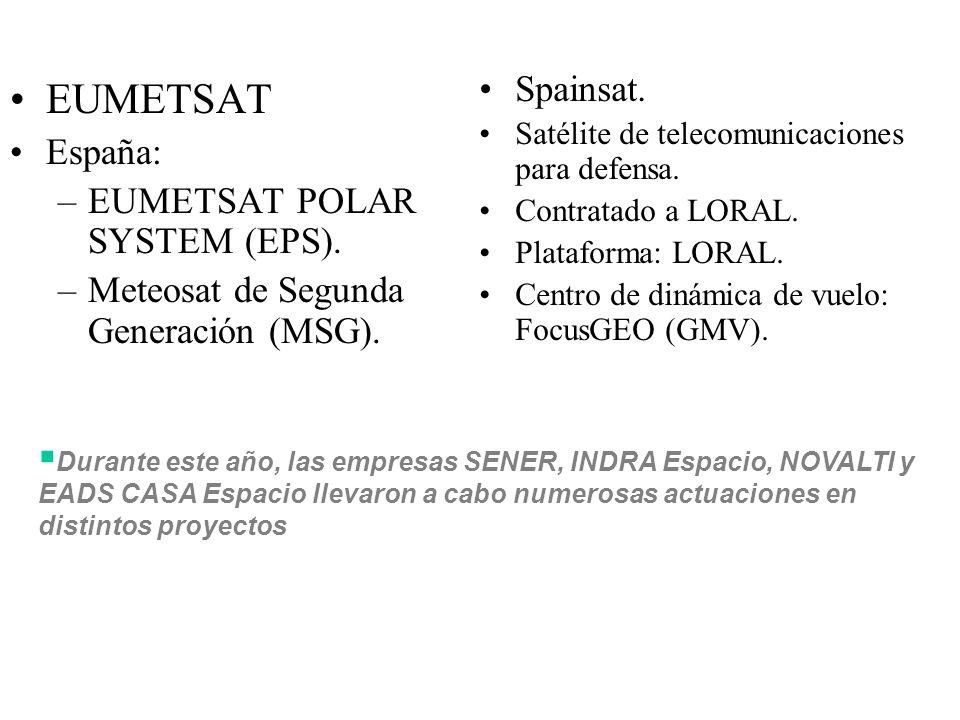 EUMETSAT España: –EUMETSAT POLAR SYSTEM (EPS). –Meteosat de Segunda Generación (MSG).