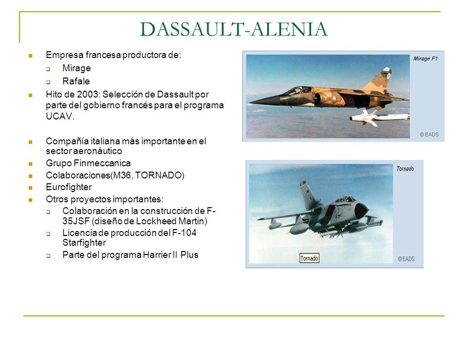 DASSAULT-ALENIA Empresa francesa productora de: Mirage Rafale Hito de 2003: Selección de Dassault por parte del gobierno francés para el programa UCAV