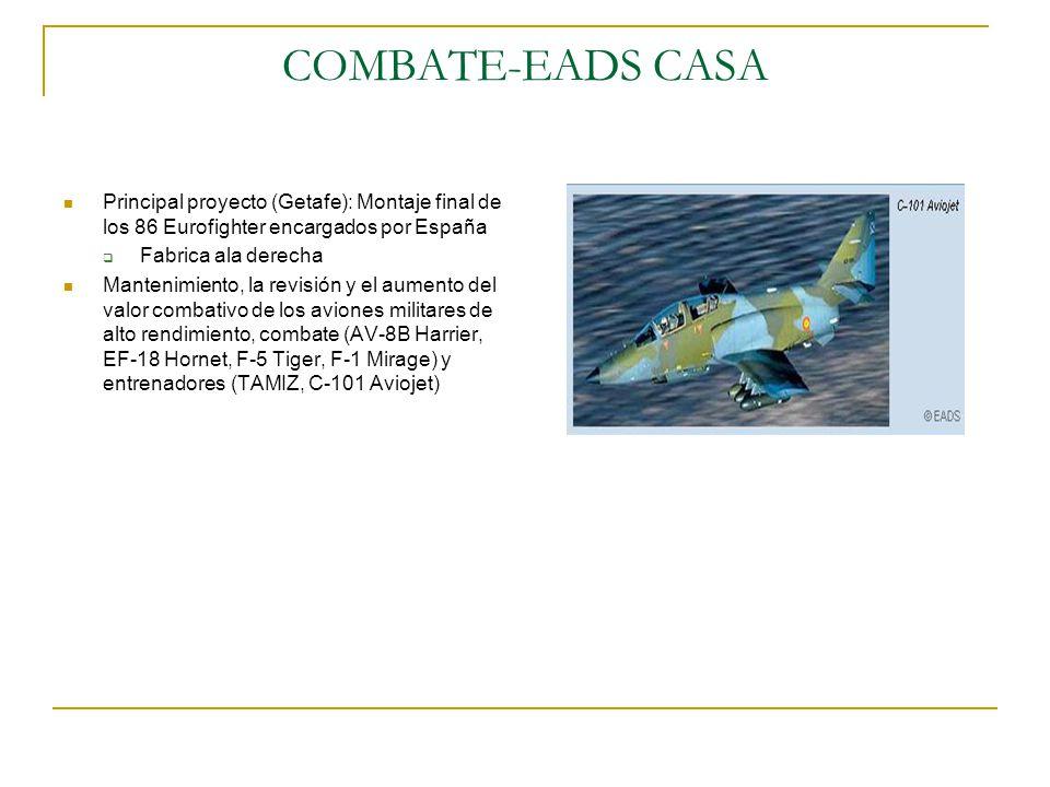 COMBATE-EADS CASA Principal proyecto (Getafe): Montaje final de los 86 Eurofighter encargados por España Fabrica ala derecha Mantenimiento, la revisió
