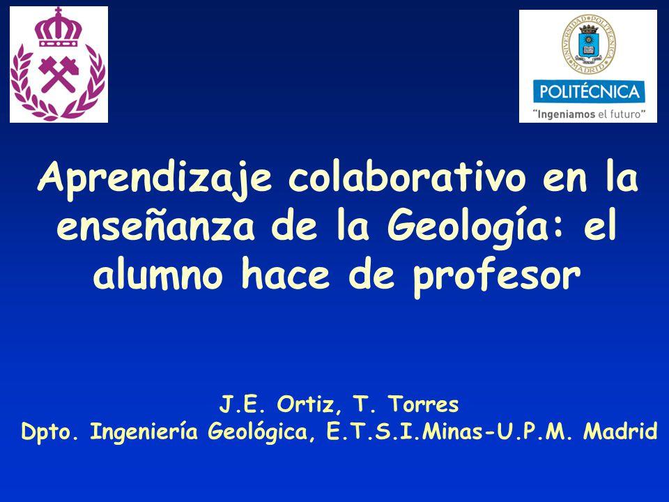 Aprendizaje colaborativo en la enseñanza de la Geología: el alumno hace de profesor J.E. Ortiz, T. Torres Dpto. Ingeniería Geológica, E.T.S.I.Minas-U.