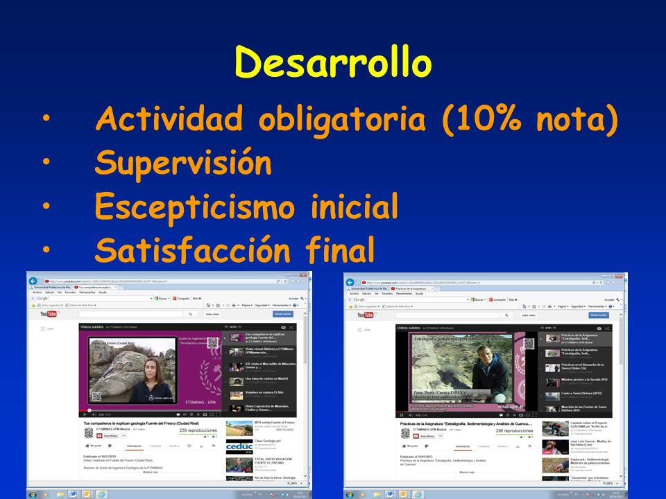 Desarrollo Actividad obligatoria (10% nota) Supervisión Escepticismo inicial Satisfacción final