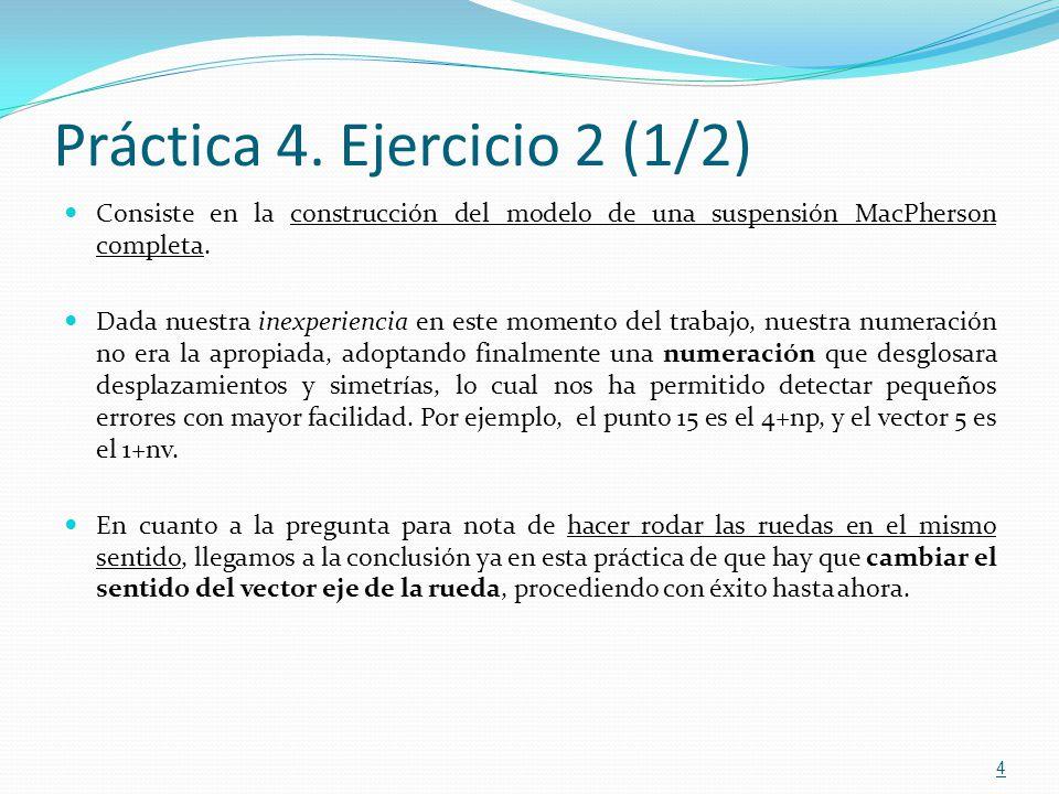 Práctica 6 (4/4) 15 En el segundo ejercicio se realiza la primera ejecución dinámica, con el objeto de calcular la posición de equilibrio estática en el ejercicio 3, a partir de la cual realizamos las simulaciones dinámicas Para la programación de la función carForces1.m tuvimos que consultar libros de Teoría de Vehículos, para saber como actúan las fuerzas de amortiguamiento.