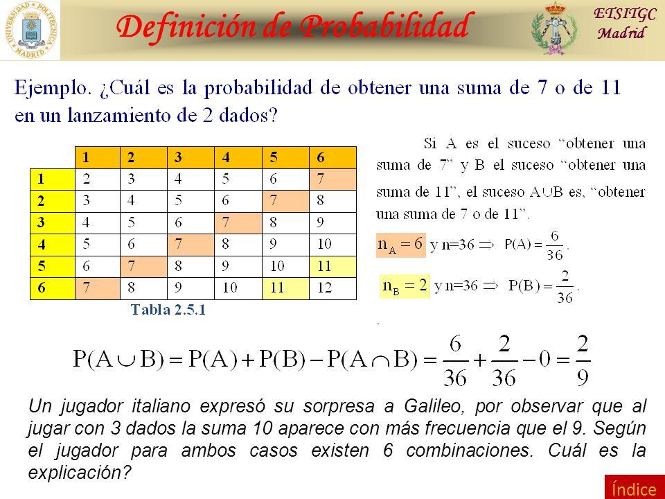 Contraste de Hipótesis Definición de Probabilidad ETSITGC Madrid Índice Un jugador italiano expresó su sorpresa a Galileo, por observar que al jugar con 3 dados la suma 10 aparece con más frecuencia que el 9.