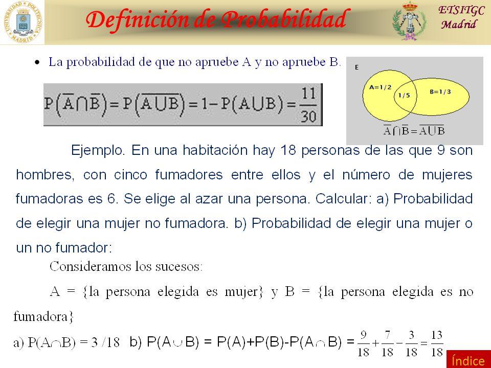 Contraste de Hipótesis Definición de Probabilidad ETSITGC Madrid E Índice