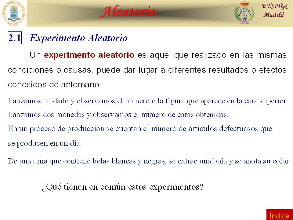 Contraste de Hipótesis Combinatoria ETSITGC Madrid Índice