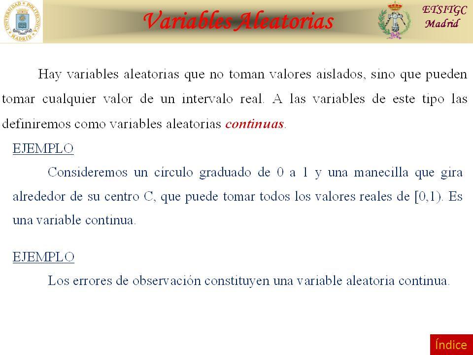 Variables Aleatorias ETSITGC Madrid Índice