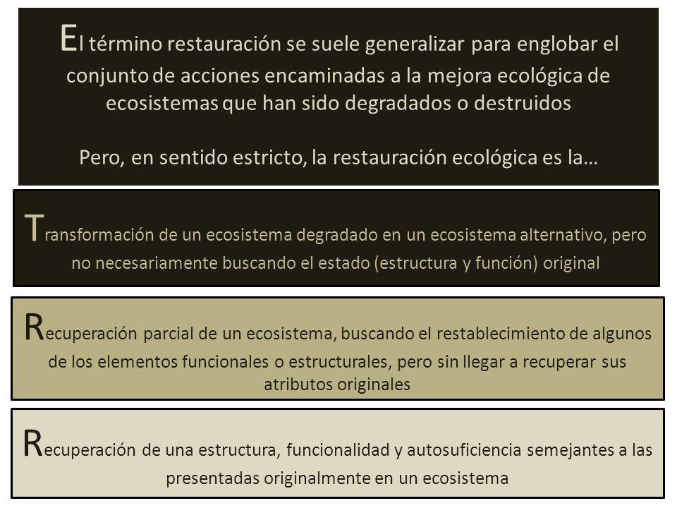 T ransformación de un ecosistema degradado en un ecosistema alternativo, pero no necesariamente buscando el estado (estructura y función) original R ecuperación parcial de un ecosistema, buscando el restablecimiento de algunos de los elementos funcionales o estructurales, pero sin llegar a recuperar sus atributos originales R ecuperación de una estructura, funcionalidad y autosuficiencia semejantes a las presentadas originalmente en un ecosistema E l término restauración se suele generalizar para englobar el conjunto de acciones encaminadas a la mejora ecológica de ecosistemas que han sido degradados o destruidos Pero, en sentido estricto, la restauración ecológica es la…