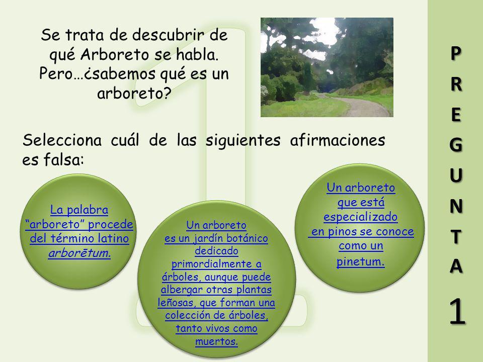 Resuelve las siguientes 5 preguntas y descubre de qué arboreto se habla. Cuando tengas la solución, obtendrás las coordenadas de los puntos del Geocac