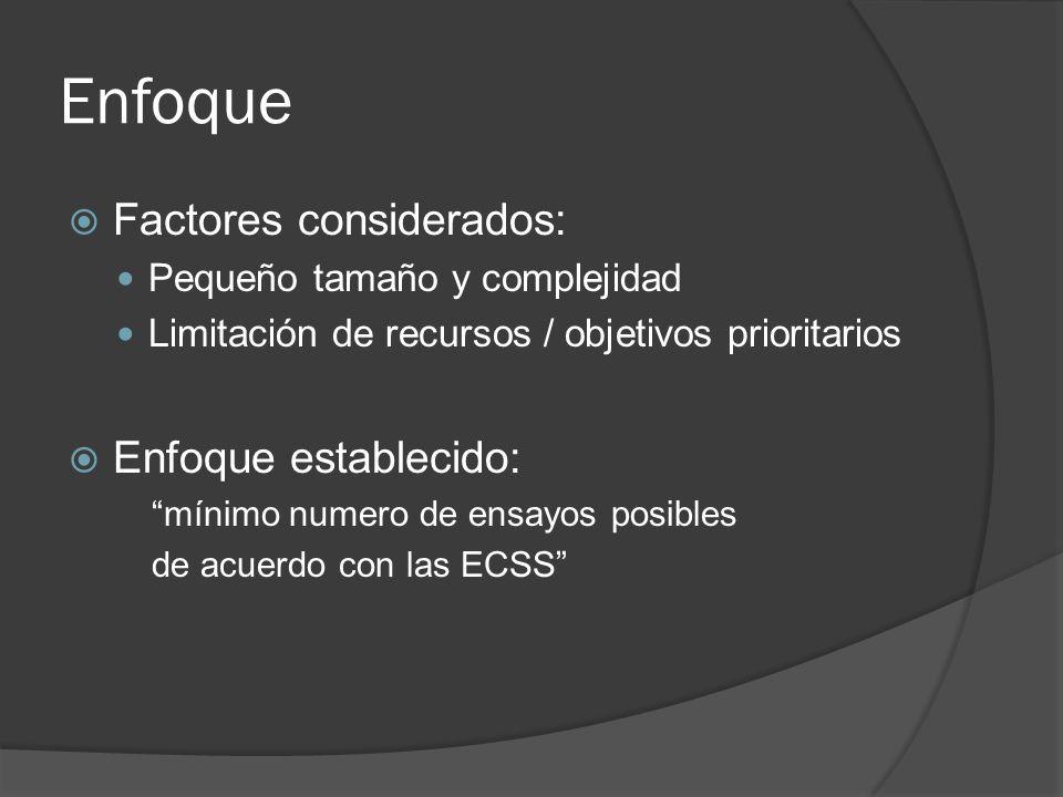 Enfoque Factores considerados: Pequeño tamaño y complejidad Limitación de recursos / objetivos prioritarios Enfoque establecido: mínimo numero de ensa