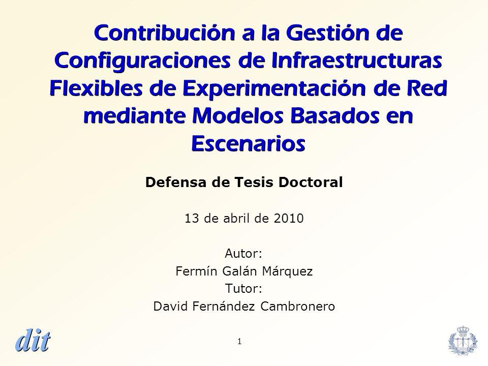dit 52 Contenidos Motivación y Objetivos Estado del arte Contribuciones –Arquitectura –Modelo Independiente de Testbed –Transformación TIM-a-TSM –Validación –Aplicaciones Conclusiones y Trabajos Futuros