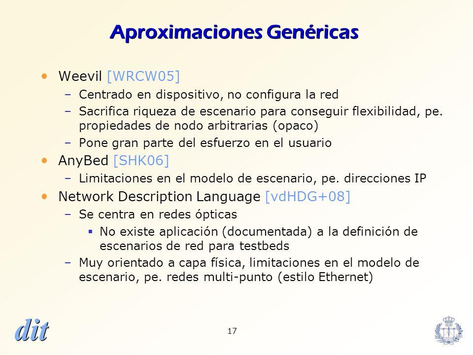 dit 17 Aproximaciones Genéricas Weevil [WRCW05] –Centrado en dispositivo, no configura la red –Sacrifica riqueza de escenario para conseguir flexibili