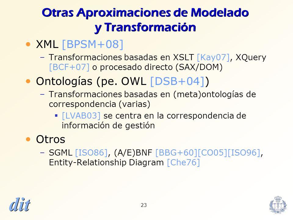 dit 23 Otras Aproximaciones de Modelado y Transformación XML [BPSM+08] –Transformaciones basadas en XSLT [Kay07], XQuery [BCF+07] o procesado directo