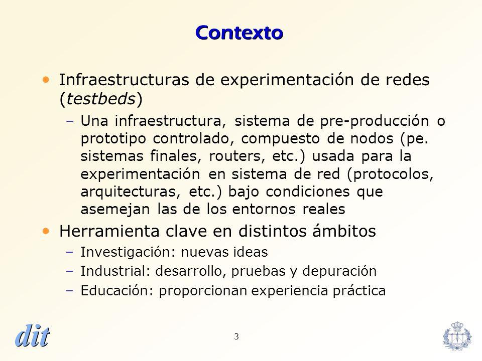 dit 3 Contexto Infraestructuras de experimentación de redes (testbeds) –Una infraestructura, sistema de pre-producción o prototipo controlado, compues