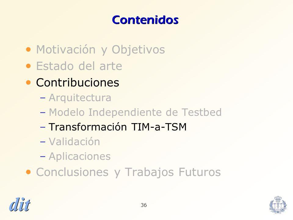 dit 36 Contenidos Motivación y Objetivos Estado del arte Contribuciones –Arquitectura –Modelo Independiente de Testbed –Transformación TIM-a-TSM –Vali