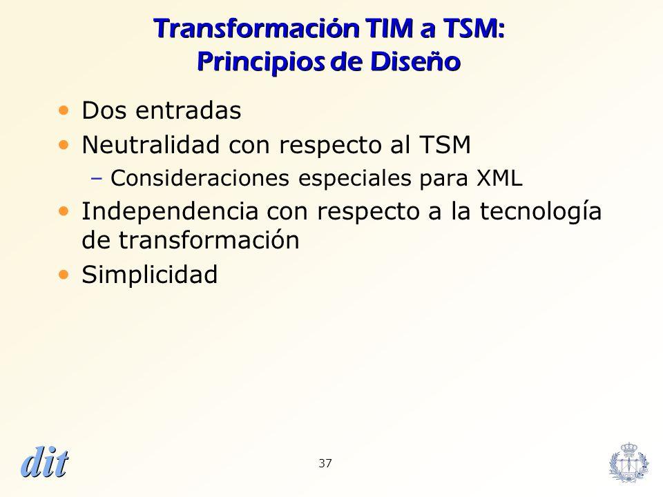 dit 37 Transformación TIM a TSM: Principios de Diseño Dos entradas Neutralidad con respecto al TSM –Consideraciones especiales para XML Independencia