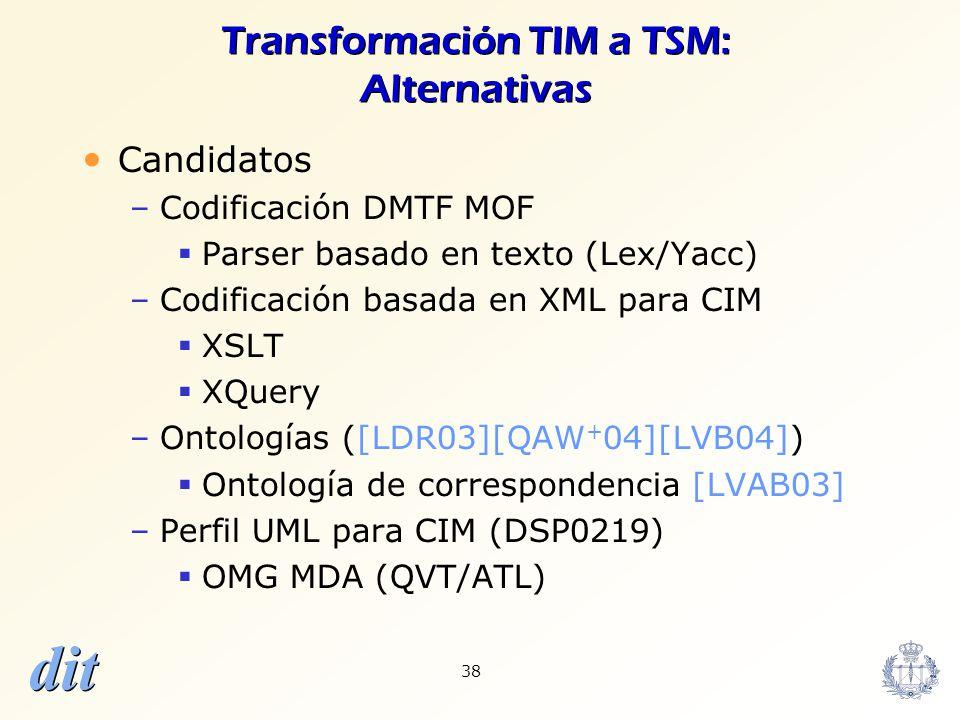 dit 38 Transformación TIM a TSM: Alternativas Candidatos –Codificación DMTF MOF Parser basado en texto (Lex/Yacc) –Codificación basada en XML para CIM