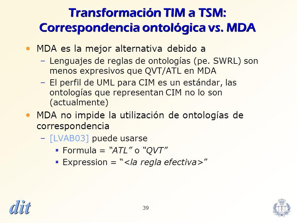 dit 39 Transformación TIM a TSM: Correspondencia ontológica vs. MDA MDA es la mejor alternativa debido a –Lenguajes de reglas de ontologías (pe. SWRL)