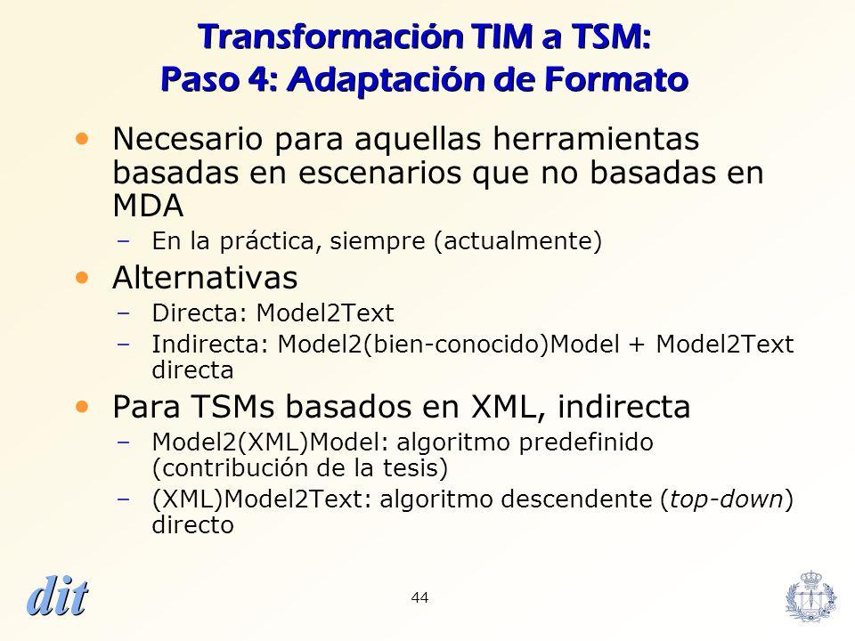 dit 44 Transformación TIM a TSM: Paso 4: Adaptación de Formato Necesario para aquellas herramientas basadas en escenarios que no basadas en MDA –En la