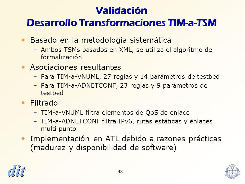 dit 48 Validación Desarrollo Transformaciones TIM-a-TSM Basado en la metodología sistemática –Ambos TSMs basados en XML, se utiliza el algoritmo de fo