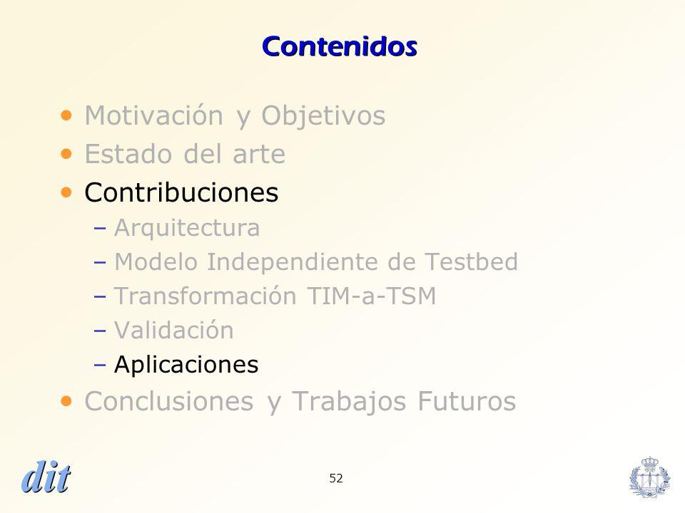 dit 52 Contenidos Motivación y Objetivos Estado del arte Contribuciones –Arquitectura –Modelo Independiente de Testbed –Transformación TIM-a-TSM –Vali