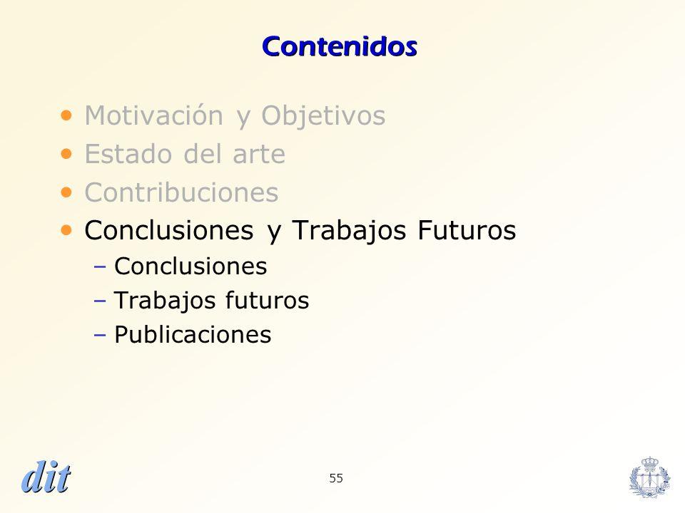 dit 55 Contenidos Motivación y Objetivos Estado del arte Contribuciones Conclusiones y Trabajos Futuros –Conclusiones –Trabajos futuros –Publicaciones