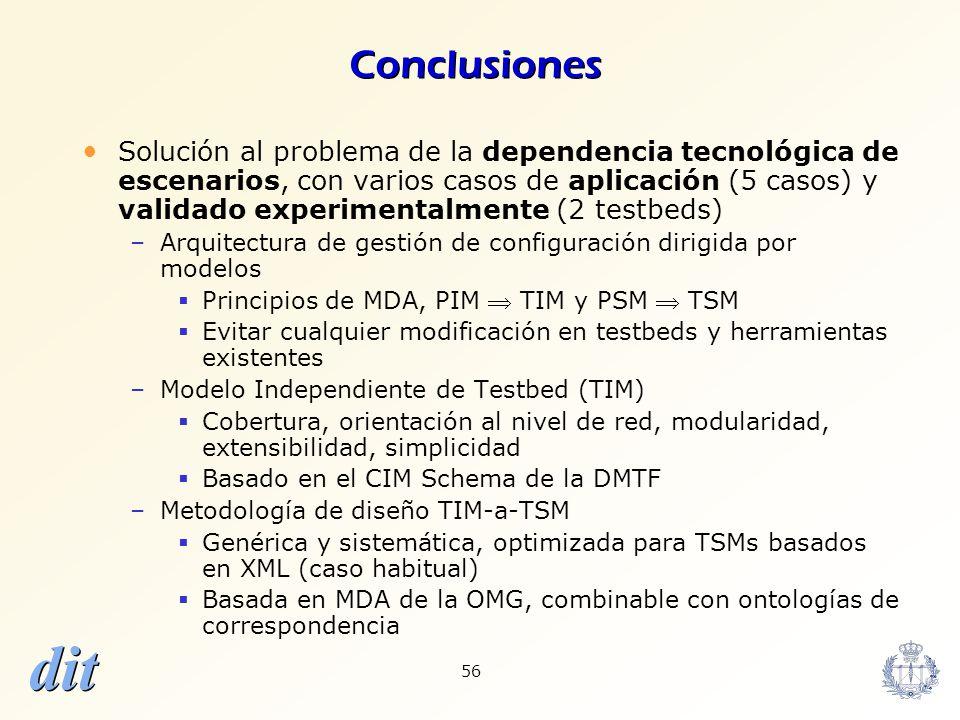 dit 56 Conclusiones Solución al problema de la dependencia tecnológica de escenarios, con varios casos de aplicación (5 casos) y validado experimental