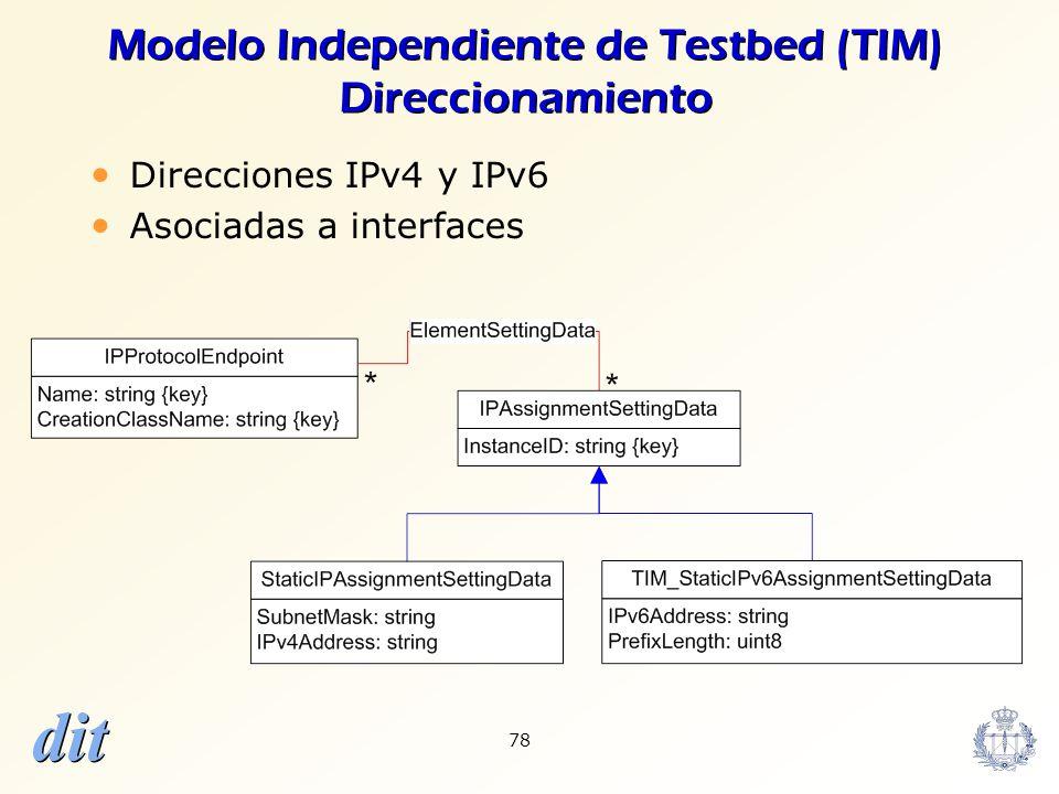 dit 78 Modelo Independiente de Testbed (TIM) Direccionamiento Direcciones IPv4 y IPv6 Asociadas a interfaces