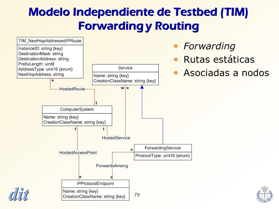 dit 79 Modelo Independiente de Testbed (TIM) Forwarding y Routing Forwarding Rutas estáticas Asociadas a nodos