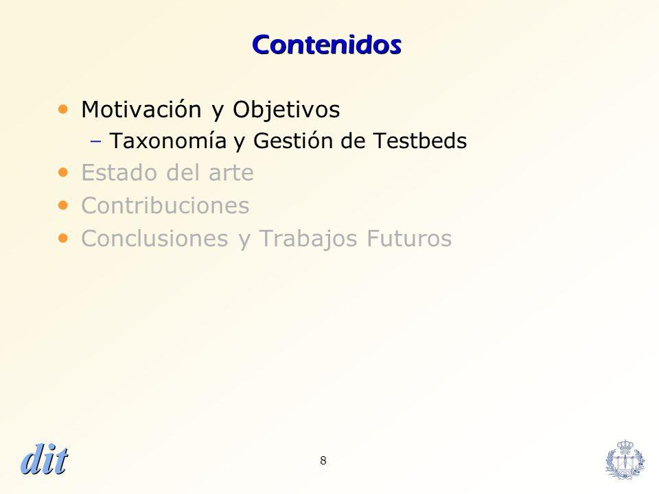 dit 8 Contenidos Motivación y Objetivos –Taxonomía y Gestión de Testbeds Estado del arte Contribuciones Conclusiones y Trabajos Futuros