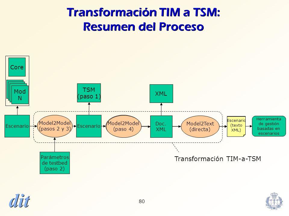 dit 80 Transformación TIM a TSM: Resumen del Proceso Core Mod N Escenario Model2Model (pasos 2 y 3) Escenario TSM (paso 1) Parámetros de testbed (paso