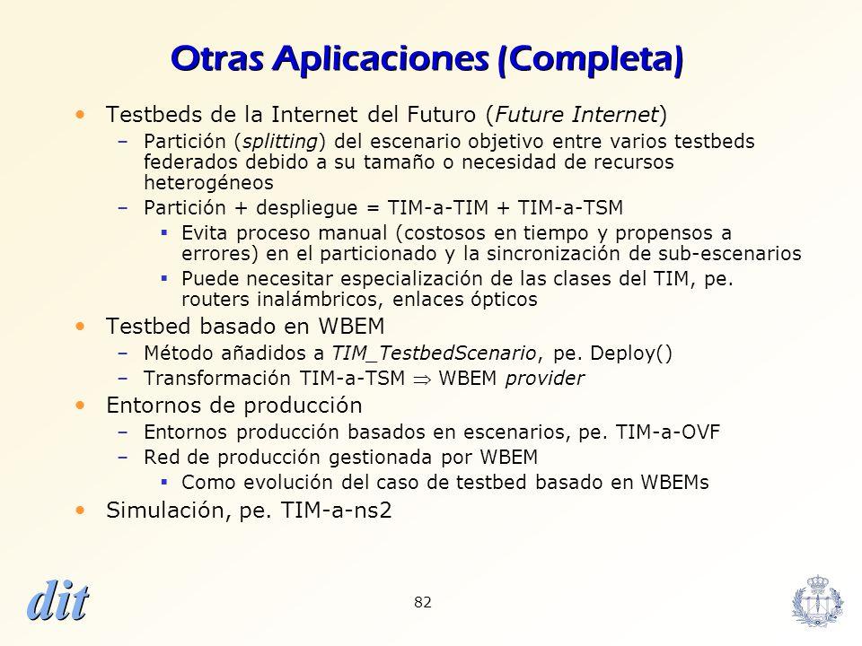 dit 82 Otras Aplicaciones (Completa) Testbeds de la Internet del Futuro (Future Internet) –Partición (splitting) del escenario objetivo entre varios t