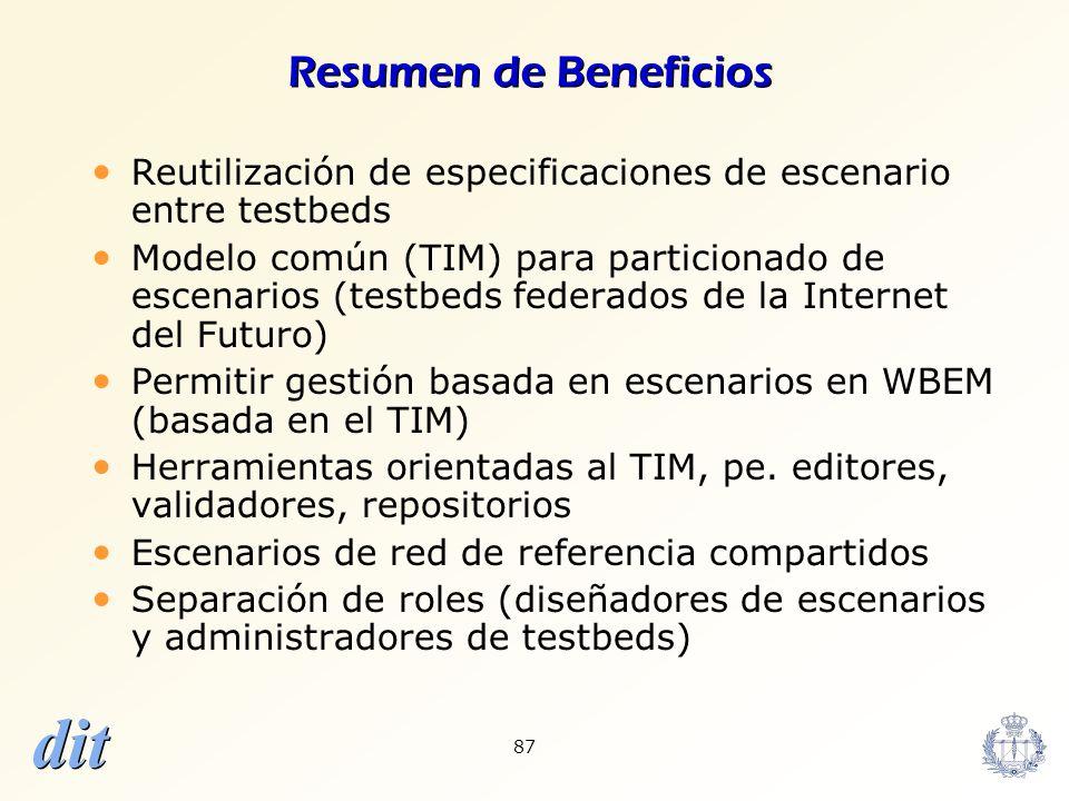 dit 87 Resumen de Beneficios Reutilización de especificaciones de escenario entre testbeds Modelo común (TIM) para particionado de escenarios (testbed
