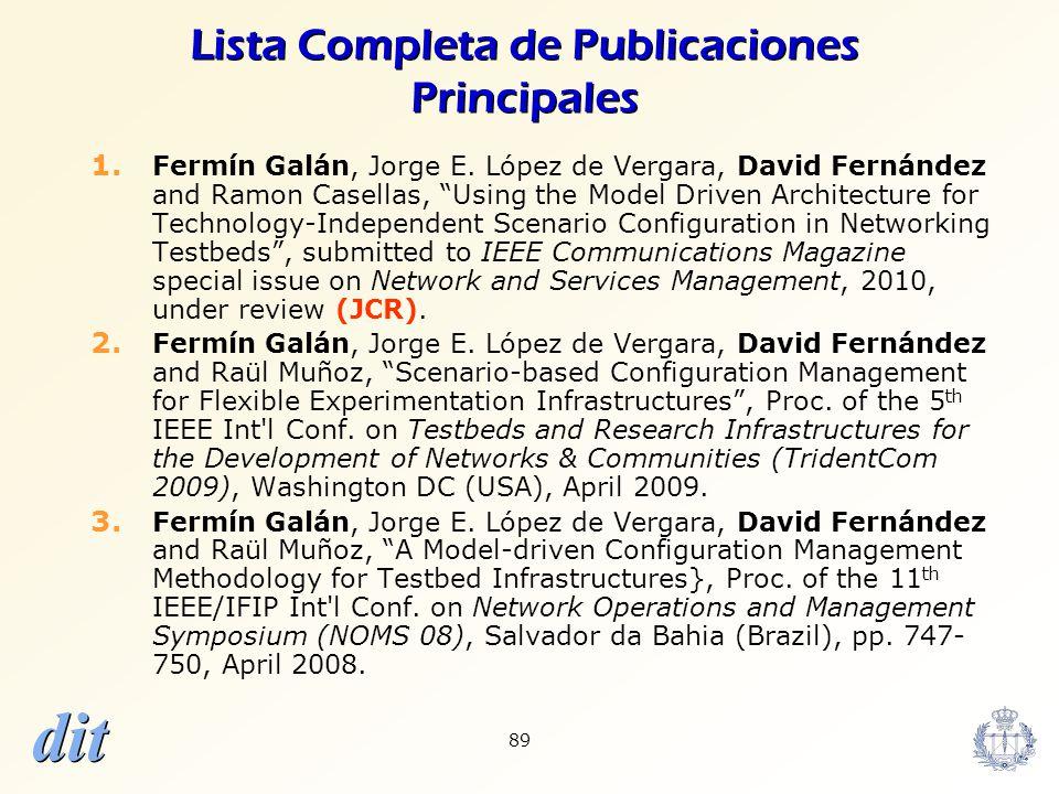 dit 89 Lista Completa de Publicaciones Principales 1. Fermín Galán, Jorge E. López de Vergara, David Fernández and Ramon Casellas, Using the Model Dri