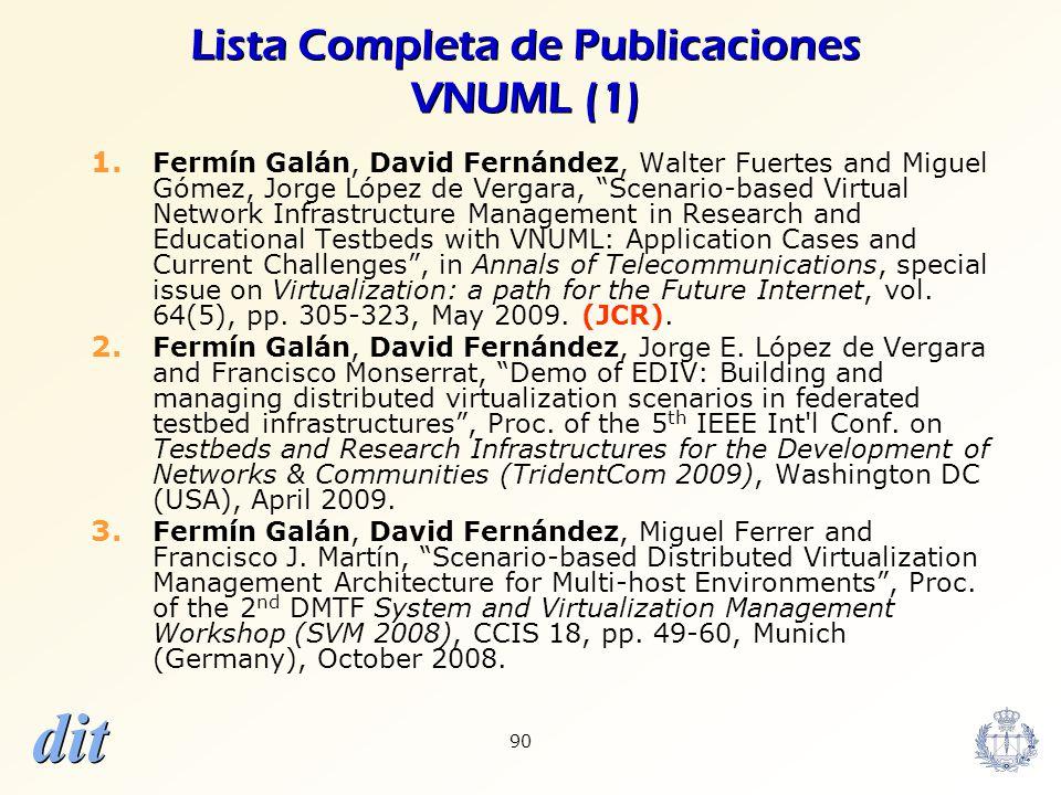 dit 90 Lista Completa de Publicaciones VNUML (1) 1. Fermín Galán, David Fernández, Walter Fuertes and Miguel Gómez, Jorge López de Vergara, Scenario-b