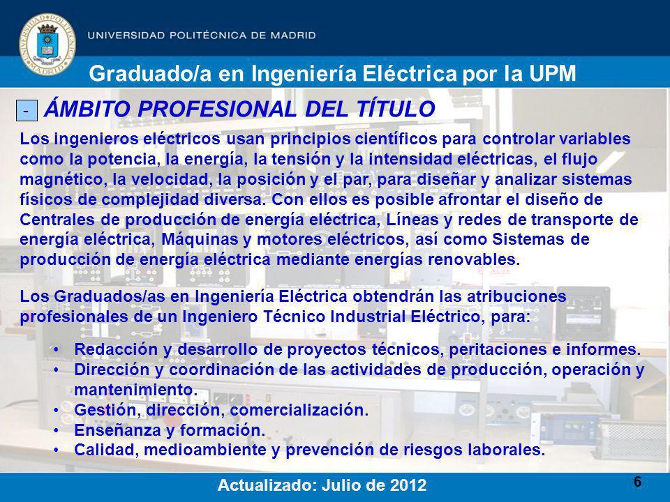 6 ÁMBITO PROFESIONAL DEL TÍTULO - Los ingenieros eléctricos usan principios científicos para controlar variables como la potencia, la energía, la tensión y la intensidad eléctricas, el flujo magnético, la velocidad, la posición y el par, para diseñar y analizar sistemas físicos de complejidad diversa.