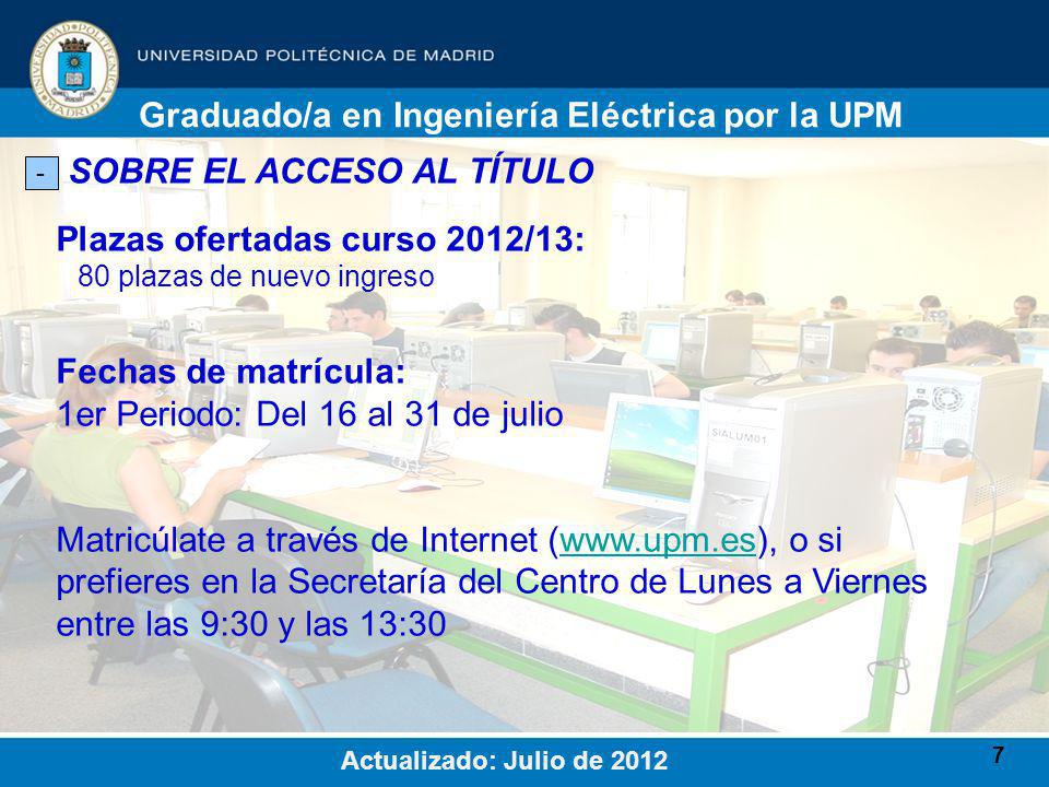 7 SOBRE EL ACCESO AL TÍTULO - Plazas ofertadas curso 2012/13: 80 plazas de nuevo ingreso Graduado/a en Ingeniería Eléctrica por la UPM Actualizado: Julio de 2012 Fechas de matrícula: 1er Periodo: Del 16 al 31 de julio Matricúlate a través de Internet (www.upm.es), o si prefieres en la Secretaría del Centro de Lunes a Viernes entre las 9:30 y las 13:30www.upm.es