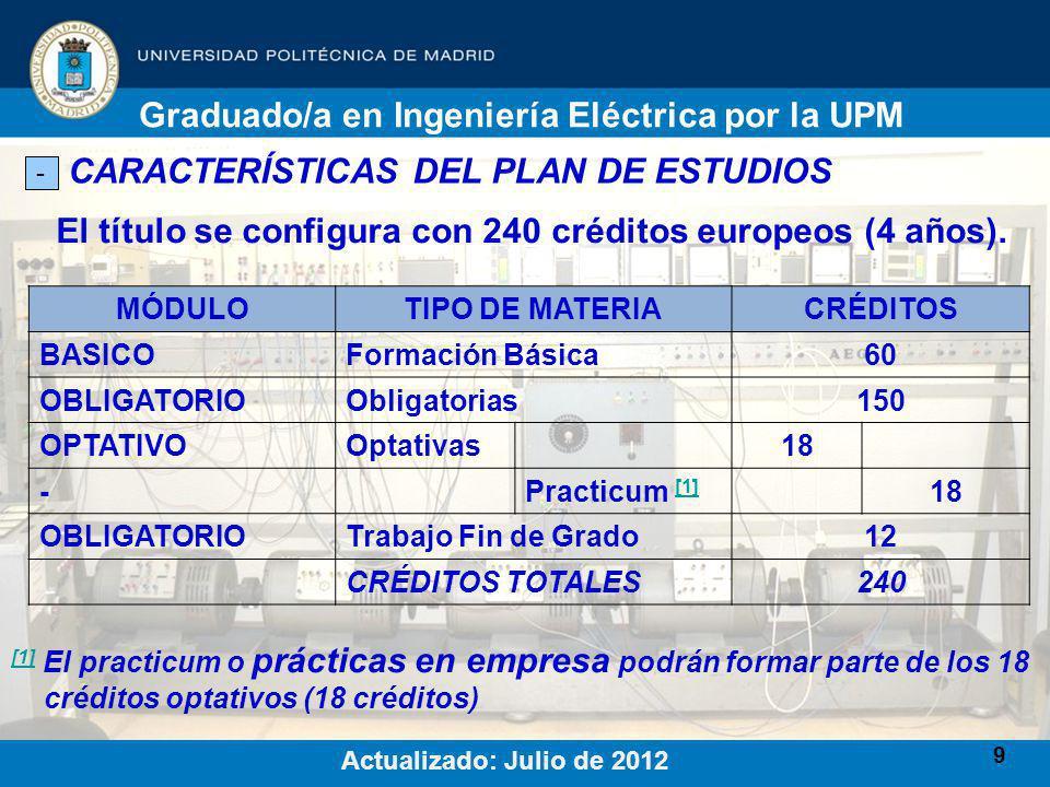 9 CARACTERÍSTICAS DEL PLAN DE ESTUDIOS - El título se configura con 240 créditos europeos (4 años).