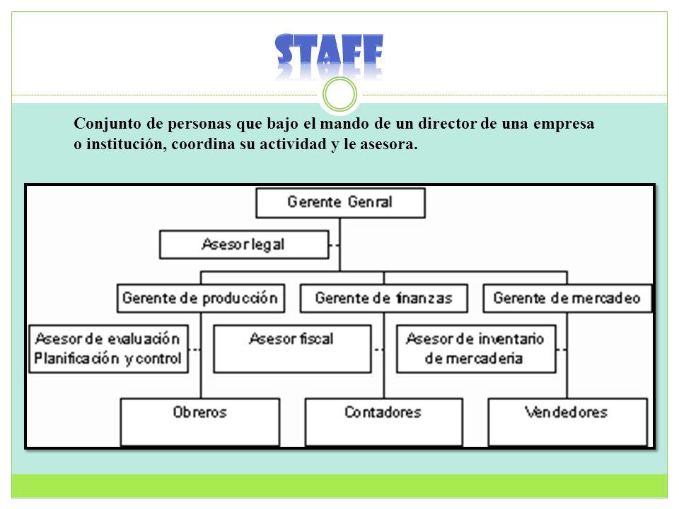 Conjunto de personas que bajo el mando de un director de una empresa o institución, coordina su actividad y le asesora.