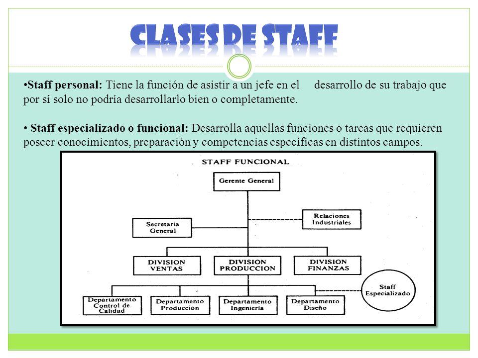 Staff personal: Tiene la función de asistir a un jefe en el desarrollo de su trabajo que por sí solo no podría desarrollarlo bien o completamente. Sta